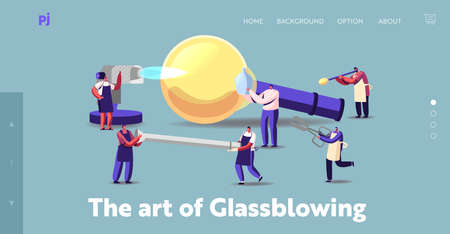 Glassblowing and Glass Decor Producing Landing Page Template. Tiny Characters with Huge Instruments Create Glasswork