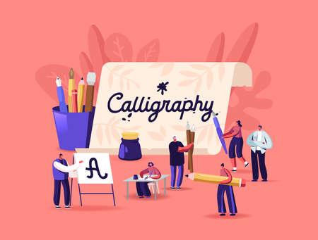 People Practicing in Spelling Lettering and Calligraphy. Characters Writing Letters, Script, Creative Hobby Recreation Stock Illustratie