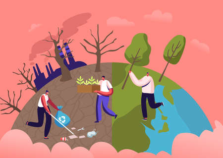 Male Characters Planting Seedlings and Trees into Soil in Garden, Remove Garbage. Save World, Reforestation