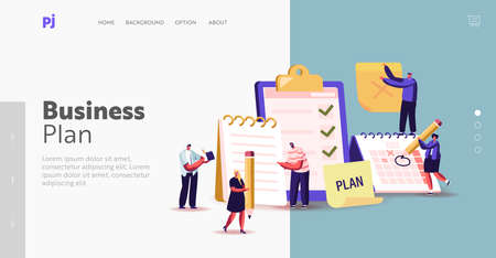 Scheduling, Planning, Inspiration Writing Landing Page Template. Business Characters Stand at Huge Clipboard or Textbook Stock Illustratie