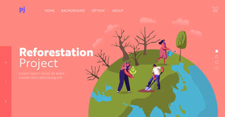 Revegetation, Forest Restoration and Planting Trees Landing Page Template. Volunteer Characters Care of Green Plants Illustration