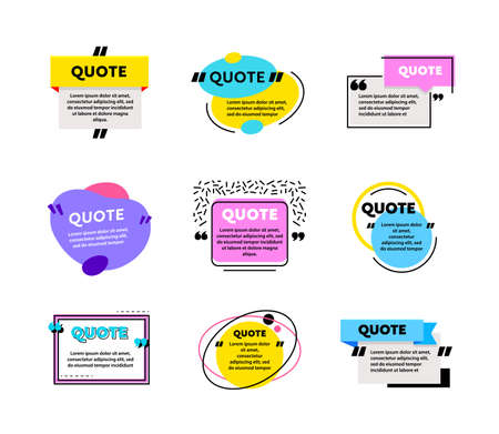 Big Set of Quote Box Frames for Texting and Messages. Colored Blank Templates for Text Info Design. Quotation Bubbles
