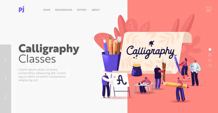People Practicing in Spelling Lettering and Calligraphy Landing Page Template. Characters Writing Letters, Script, Hobby