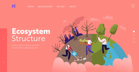 Nature, Environment and Ecology Landing Page Template. Characters Planting Seedlings and Trees in Garden