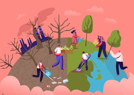 Reforestation and Revegetation Eco Concept. Characters Pick Up Trash, Planting Seedlings and Trees into Soil in Garden Illustration