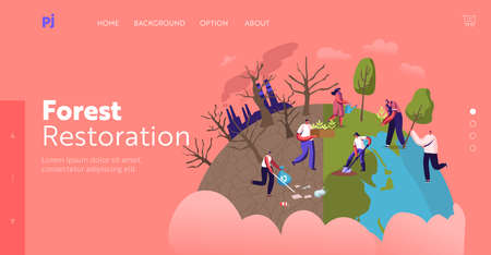 Reforestation and Revegetation Landing Page Template. Characters Pick Up Trash, Planting Trees into Soil in Garden Illustration