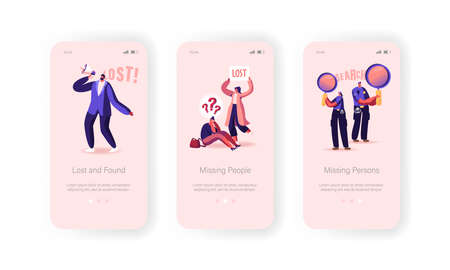 Missing People Lost in Crowd Mobile App Page Onboard Screen Template. Female Character Get Lost, Police Help Concept