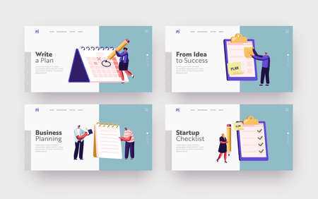 Scheduling, Planning, Plan Writing Landing Page Template Set. Business Characters Stand at Huge Clipboard with Checklist Stock Illustratie