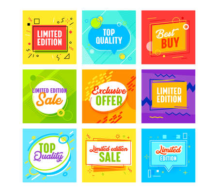 Set Banners with Abstract Geometric Pattern for Limited Edition Promo Post. Templates Design for Social Media Marketing