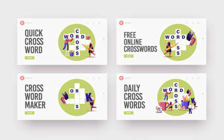 Brain Training, Puzzle Solving Landing Page Template Set. Tiny Characters Solve Huge Crossword. Spare Time Recreation