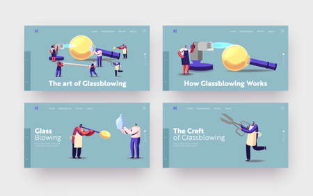 Glassblowing, Glass Decor Producing Landing Page Template Set. Tiny Characters with Huge Instruments Create Glasswork