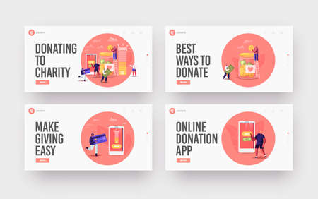 Donation Volunteer Charity Landing Page Template Set. Tiny Characters Throw Coins and Bills intHuge Glass Jar for Donate