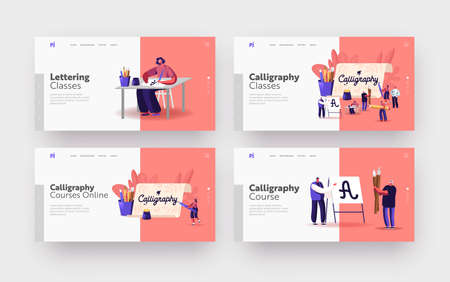 People Practicing Spelling Lettering and Calligraphy Landing Page Template Set. Characters Writing Letters, Script Hobby Stock Illustratie