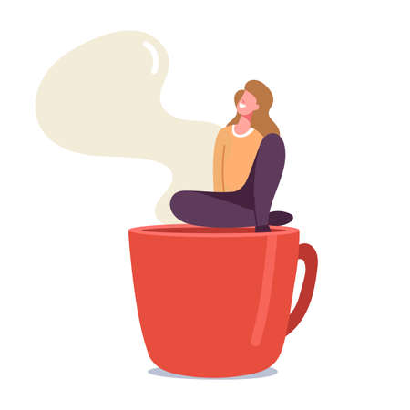 Tiny Woman Relaxing on Coffee Break Sitting on Huge Steaming Cup, Girl Visiting Cafe or Restaurant, Recreational Place Stock Illustratie
