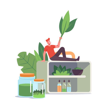 Alternative Traditional Medicine Concept. Tiny Male Character with Green Leaves Sit on Huge Shelf with Various Flasks