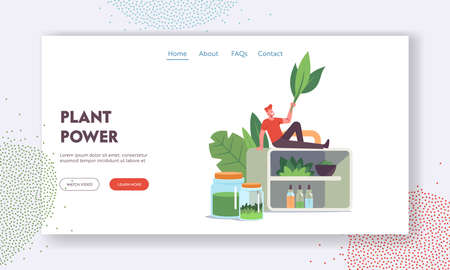 Alternative Traditional Medicine Landing Page Template. Tiny Male Character with Leaves Sit on Huge Shelf with Flasks