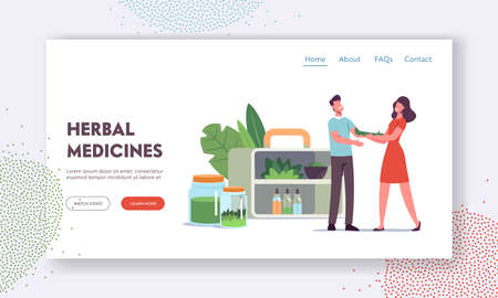 Specialist of Traditional Medicine Giving Herbal Remedy to Patient Landing Page Template. Doctor Prepare Drugs of Plants