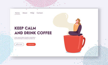 Female Character Having Rest in Recreational Place Landing Page Template. Tiny Woman Relaxing on Coffee Break Sit on Cup Stock Illustratie