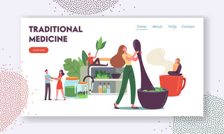 Traditional Medicine Landing Page Template. Doctors Characters Make Drugs of Medical Herbs and Plants, Preparing Recipes