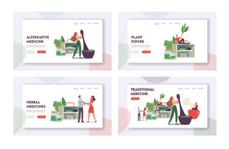 Traditional Medicine Landing Page Template Set. Doctors Characters Make Drugs of Medical Herbs, Plants, Preparing Remedy