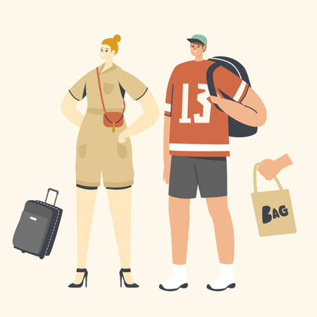 People with Bags Concept. Woman with Reticule, Man with Backpack. Suitcase for Summer Vacation Trip and Eco Tote Bag