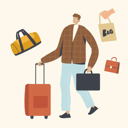 Male Character with Briefcase and Luggage in Hands. Businessman Trip or Tourist go on Summer Time Vacation with Baggage