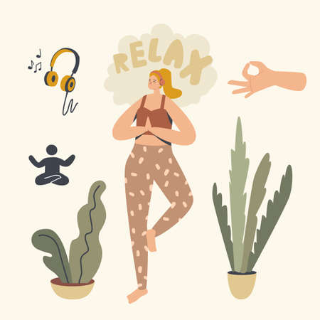 Healthy Woman Doing Yoga Asana or Aerobics Exercise Standing on One Leg Listening Relaxing Music at Home. Female Character Sport Life Activity, Healthy Lifestyle, Leisure. Linear Vector Illustration