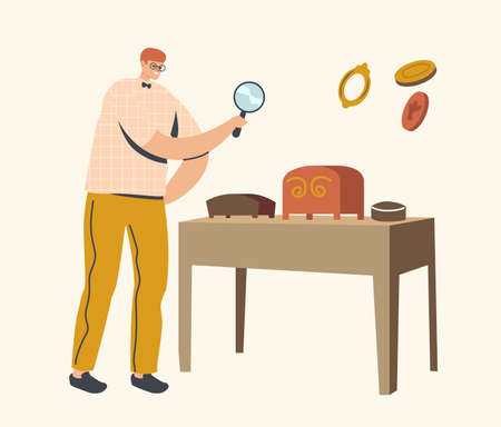 Art Expertise, Masterpiece Examination Concept. Male Character Looking through Magnifying Glass on Museum Exhibits Stock Illustratie
