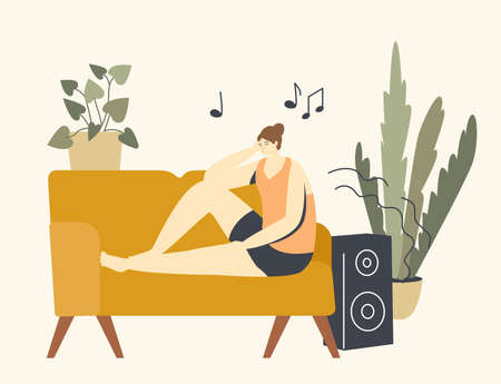 Relaxed Female Character Listen Relaxing Music. Sitting on Couch in Living Room with Dynamics Playing Melody. Relaxation