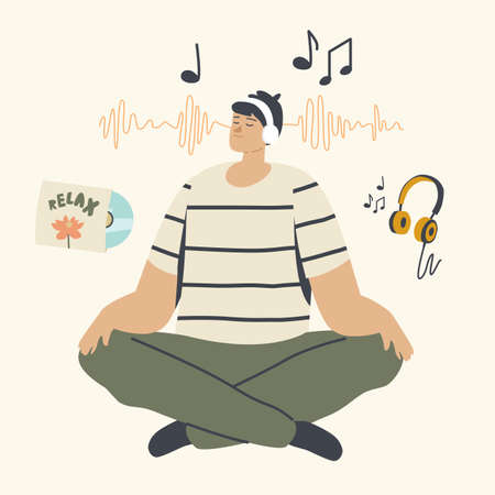 Relaxed Male Character Meditating in Headphones Listening Relaxing Music. Man Do Yoga in Lotus Pose. Healthy Lifestyle Stock Illustratie