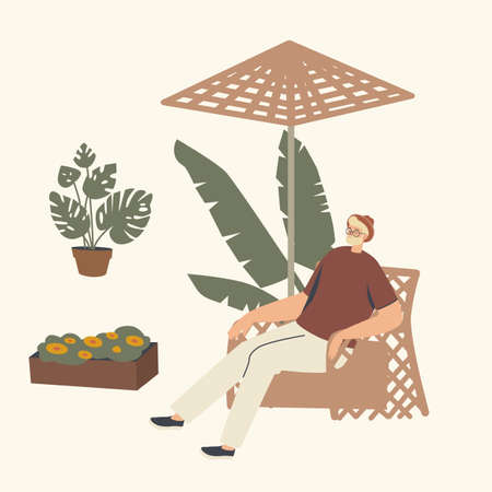 Male Character Relaxing in Wicker Chair under Umbrella. Man Spend Time on Garden Outdoor Area with Modern Decor