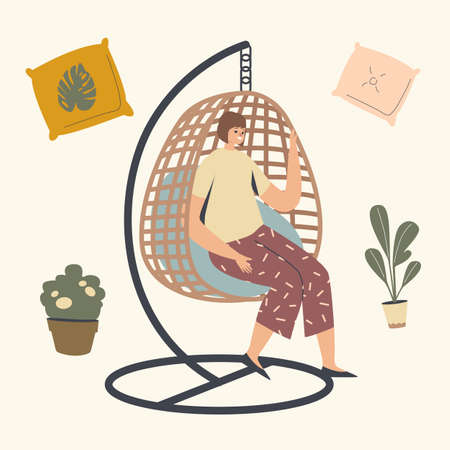 Female Character Relaxing in Wicker Suspended Chair. Woman Use Modern Decor Design Made of Natural Materials. Fashionable Comfortable Furniture for Garden Outdoor Area. Linear Vector Illustration