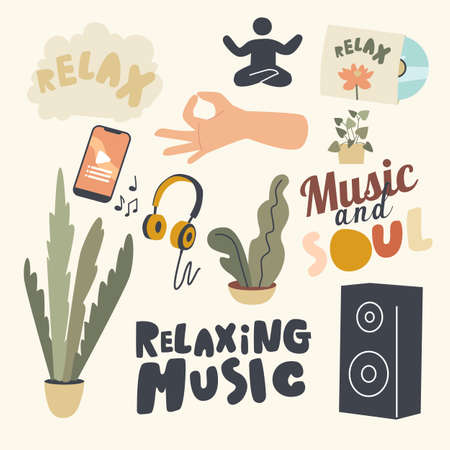 Set of Icons Relaxing Music Theme. Smartphone with Application, Headphones and Dynamics, Human Sitting in Yoga Asana Stock Illustratie
