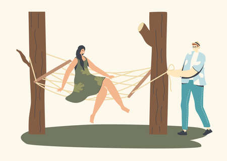 Male and Female Characters Relax on Wicker Furniture Outdoors. Woman Sit on Suspended Hammock in Garden, Outdoor Decor Stock Illustratie