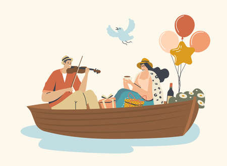 Young Happy Couple Man and Woman Floating Boat at Water Surface. Male Character Playing Violin, Female Drinking Tea