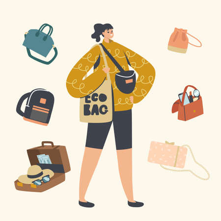 Summer Time Vacation. Female Character with Different Bags or Luggage for Travel on Tropical Country Resort with Baggage