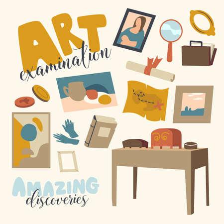 Set of Icons Art Expertise Theme, Ancient Items, Gloves, Museum Exhibit Showpiece. Masterpiece Professional Examination