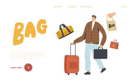 Man Travel with Suitcase Landing Page Template. Male Character with Briefcase and Luggage in Hands. Businessman Trip