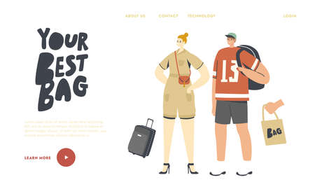 People with Bags Landing Page Template. Woman with Reticule, Man with Backpack. Suitcase for Vacation and Eco Tote Bag Illusztráció