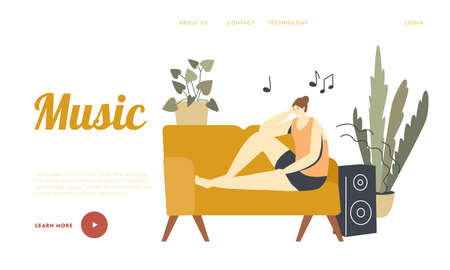 Emotional Balance, Leisure or Life Harmony Landing Page Template. Female Character Listening Relaxing Music Sit on Couch in Room with Dynamics Playing Melody, Relaxation. Linear Vector Illustration