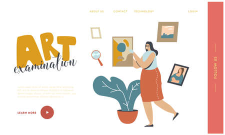 Art Expertise Landing Page Template. Museum Expert Character Carry Picture, Exhibit Showpiece Professional Examination, Cultural Artwork Object, Masterpiece Examination. Linear Vector Illustration