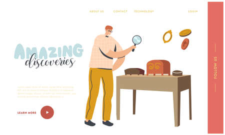 Art Expertise, Masterpiece Examination Landing Page Template. Male Character Looking through Magnifying Glass on Museum Exhibit. Professional Examination of Cultural Object. Linear Vector Illustration