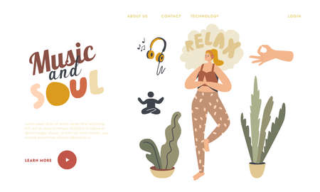 Female Character Sport Life Activity, Healthy Lifestyle, Leisure Landing Page Template. Woman Doing Yoga Exercise Standing on One Leg Listening Relaxing Music at Home. Linear Vector Illustration