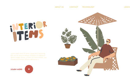 Comfortable Furniture Landing Page Template. Male Character Relaxing in Wicker Chair under Umbrella. Man Spend Time Outdoor with Modern Decor Made of Natural Materials. Linear Vector Illustration
