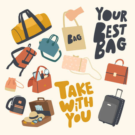 Set of Icons Various Bags Theme. Accessories Collection, Suitcase, Luggage or Baggage for Tourist Travel, Reticule Stock Illustratie