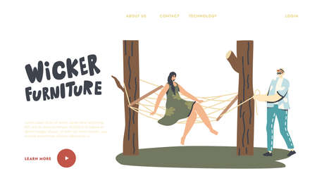 Characters Relax on Wicker Furniture Landing Page Template. Woman Sit on Suspended Hammock in Summer Garden