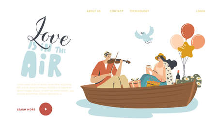 Happy Couple Man and Woman Floating Boat Landing Page Template. Male Character Playing Violin, Female Drinking Tea