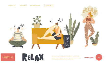 People Meditating Listening Relaxing Music at Home Landing Page Template. Characters Sit in Yoga Lotus Pose