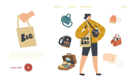 Girl with Suitcase, Reticule and Eco Bag, Backpack and Baggage Landing Page Template. Female Character with Bags