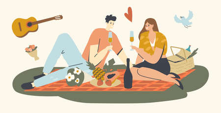 Happy Couple of Male and Female Characters Dating Outdoors on Picnic, Drinking Champagne. Declaration of Love, Romantic